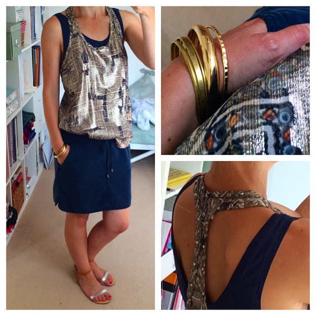 Silk Tank - Isabel Marant for H&M; Skirt & navy tank - H&M Conscious Collection (current season); Sandals - Topshop (SS14); Bracelets - Topshop/H&M